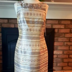 Eliza J metallic sheath size 10 beaded dress NWT